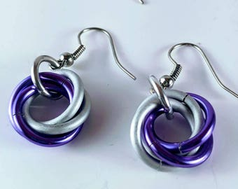 Mobius Spiral Colorful Chainmaille Earrings, Lightweight, Aluminum