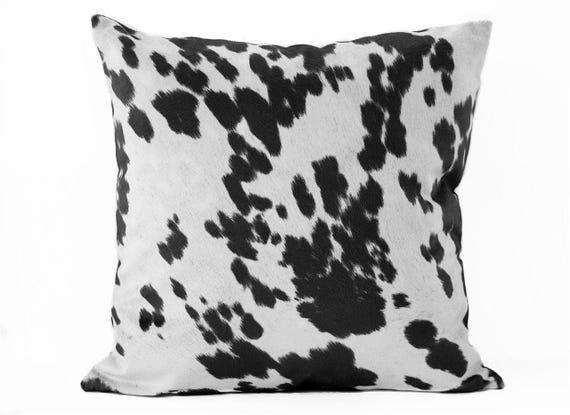 edd07df1990 Cow print pillow cover Black White Suede pillow Animal
