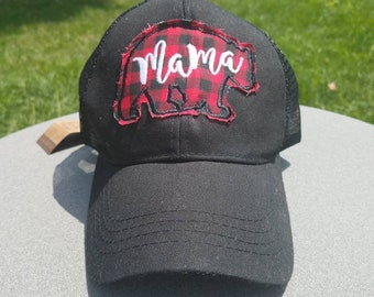 7841c2b1145 Black mama bear ponytail hat