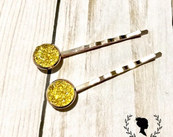 Gold and Yellow Druzy Bobby Pin Set