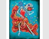 6x9 Greeting Card quot The Wedding Singer quot La Catrina Vino Day of the Dead Wine Bottle Label