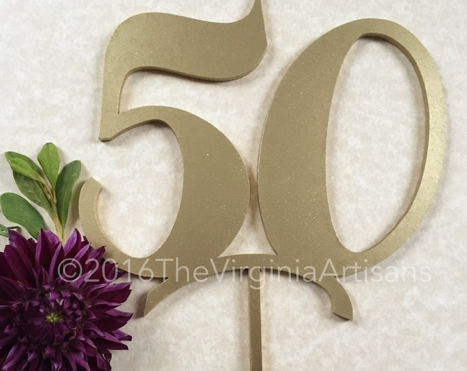 50 Cake Topper - Gold - Silver -DIY - 50th Birthday Cake Topper