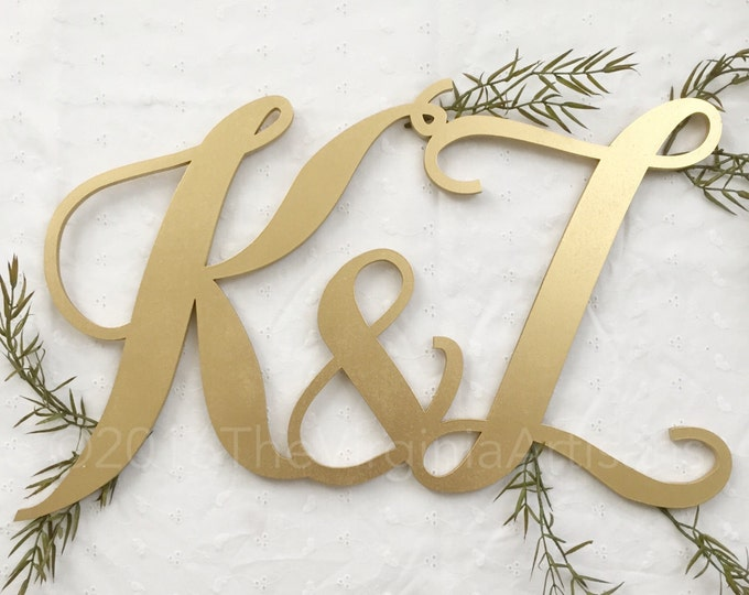 """10"""" x 10""""  Two Initials Monogram Sign. Event Sign. Wedding, Anniversary."""