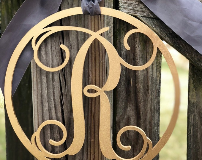 Laser Cut Round Monogram Sign - Laser Cut Monogram Sign - Surname Initial Monogram Sign - Laser Cut One Letter Monogram Sign for Door