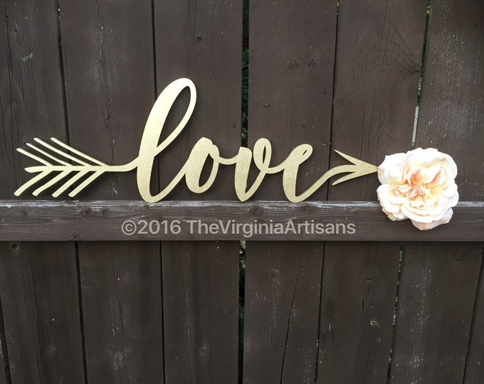 Home Decor Love Sign -  Love Arrow Sign - Love Wedding Sign - Farm House Love Sign