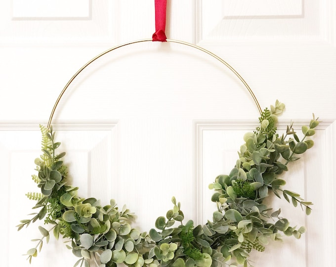 "12"" Modern Hoop Wreath With Greenery, Hoop Wreath, Fall Wreath, Summer Wreath, Faux Eucalyptus Wreath, Modern Style Wreath, Farmhouse Style"
