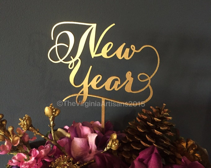 New Year Cake Topper - Centerpiece decor - New Year Decor - Gold or Silver