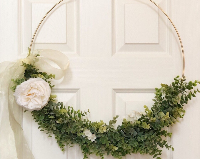 "19"" Large Modern Hoop Wreath - Large Hoop Wreath - Large Hoop Wreath, Faux Eucalyptus Wreath, Modern Style Wreath - Metal Ring Wreath"