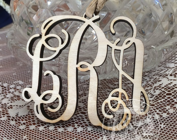 Monogram Ornaments - Natural Raw Wood - Gold - Silver -