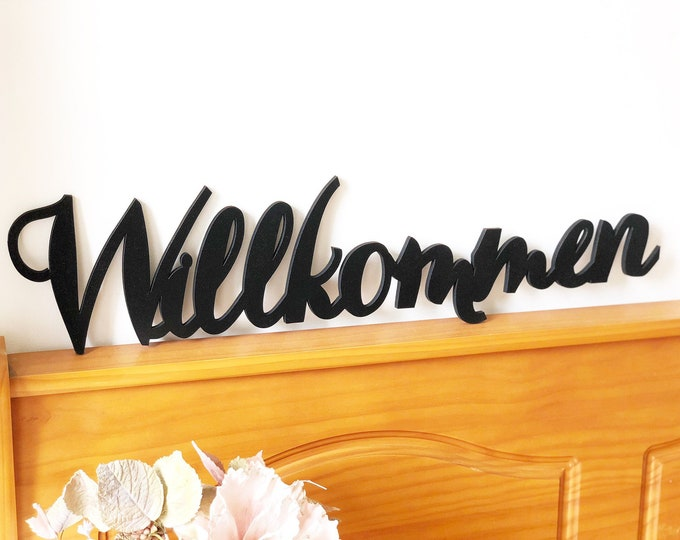 "Willkommen Laser Cut Sign - Farmhouse Decor 23.5""x 5.7"" - Welcome Sign in German - Home Decor in German"