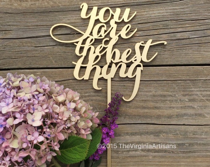 You Are The Best Thing Cake Topper, Wedding Cake Topper, Engagement Cake Topper, Gold Script Phrase Cake Topper