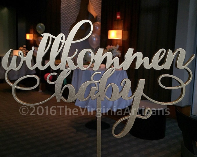 Willkommen Baby.  Table Sign. Baby Shower Decor in German