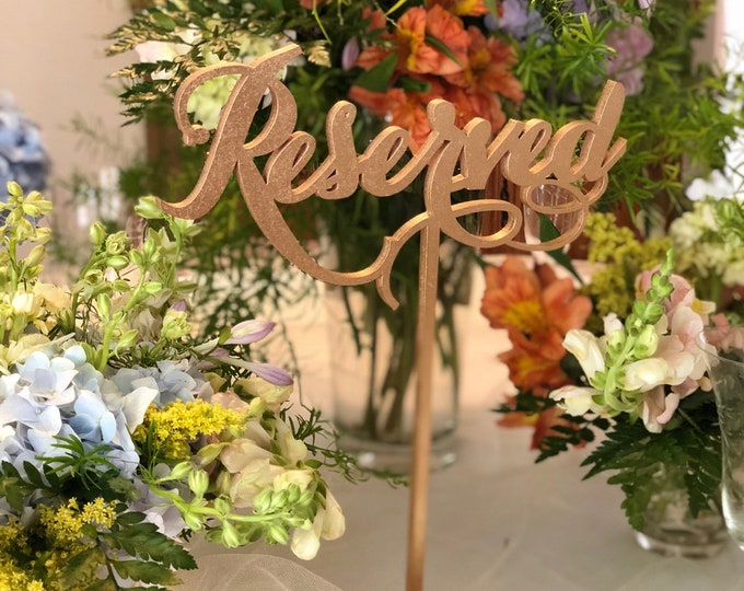 Set of 5 - Reserved Signs - Reserved Table Signs - Laser Cut Reserved Signs - Wedding Reserved Signs - Reserved Signs for Wedding