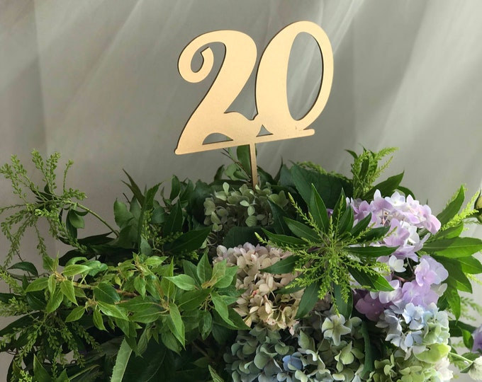 Set of 20 - Wedding Numeric Table Signs - Set of 1-20 - Gold - Silver - DIY - Elegance Line