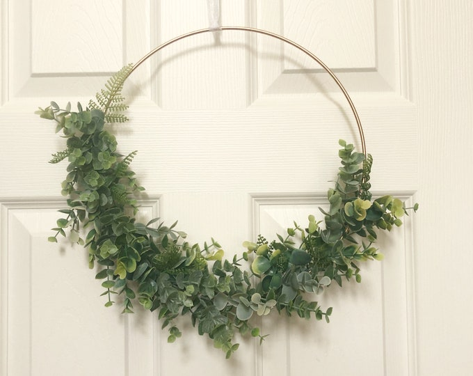 "12"" Modern Hoop Wreath With Greenery, Hoop Wreath, Modern Christmas Wreath, Faux Eucalyptus Wreath, Modern Style Wreath, Farmhouse Style"
