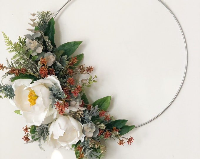 "14"" Modern Hoop Wreath With White Peonies, Hoop Wreath, Metal Ring Wreath, Winter Wreath, Wreath, Modern Style Wreath, Farmhouse Wreath"