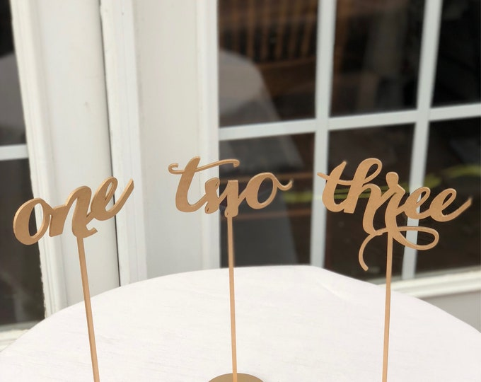 Set of 17 - Words Table Numbers - Set of 1-17 - Numbers For Tables - Elegance Line - Laser Cut Table Numbers.