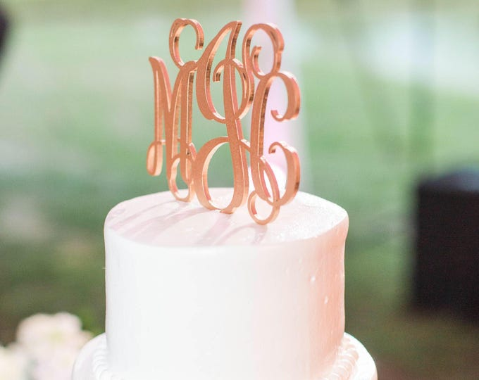 Monogram Wedding Cake Topper, Monogram Cake Topper, Initials Wedding Cake Topper, Gold Monogram Cake Topper - Heirloom Cake Topper