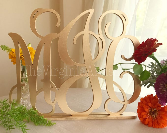 Large Monogram Sign - Laser Cut Self Standing Monogram Sign - Initials Monogram Laser Cut - Three Letters Monogram Sign