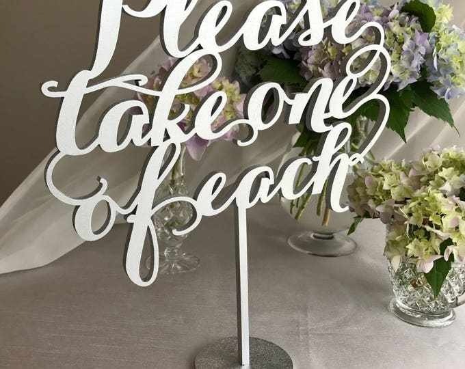 Please take one sign,Please Take One Of Each Sign, Wedding Signage, Gold Wedding Sign,  Elegance Line