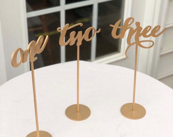 Set of 8 - Table Numbers - 11, 12, 14, 15, 17, 18, 19, & 23 - Freestanding Table Numbers - Gold Laser Cut Table Numbers - Elegance Line