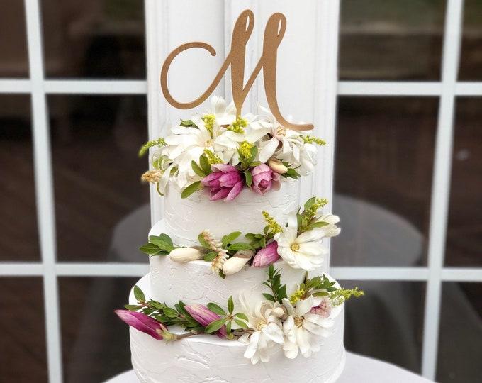 Initial Cake Topper - One Letter Cake Topper - Gold - Silver -DIY - Laser Cut Wedding Cake Topper