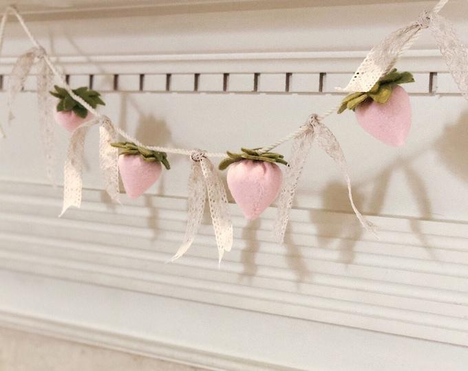 Handmade Felt Pink Strawberries Garland - Felt Strawberry Garland, Small