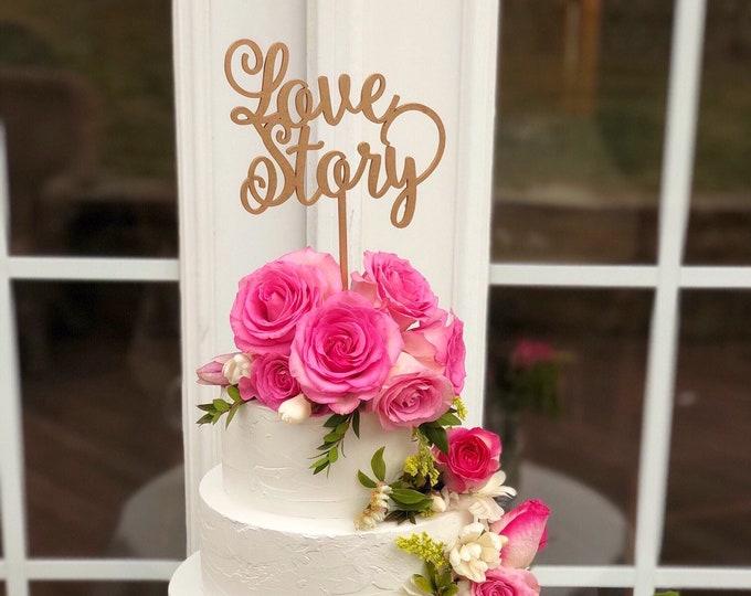 Love Story Cake Topper - Gold Love Cake Topper - Love Story Wedding Cake Topper- Love Wedding Cake Topper - Heirloom Cake Topper