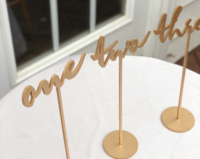 Set of 9 - Wedding Table Numbers  Set of 1-9 - Gold Laser Cut Script Table Numbers - Garden Line