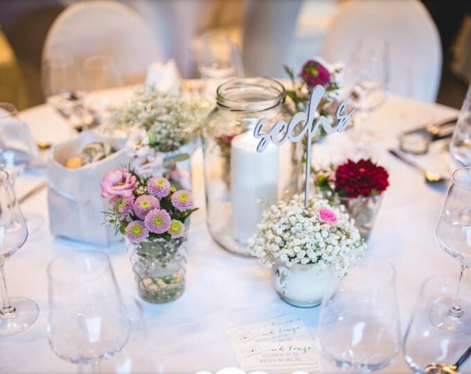 Wedding Table Numbers in German. Set of 1-10 - Gold - Silver DIY - Garden Line