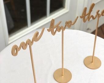 Sammlung Von 16   Hochzeit Tischnummern   Reihe Von 1 16   Moderne  Kalligraphie Tischnummern   Laser Geschnitten Zahlen   Garten Linie