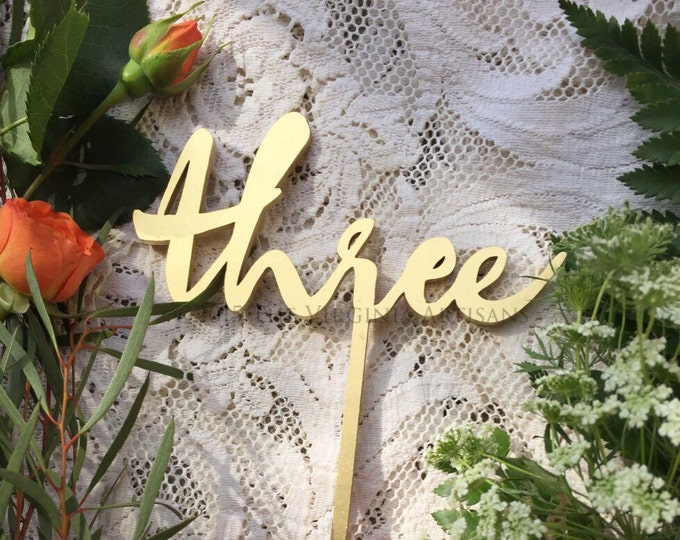 Set of 9 - Wedding Table Numbers - Set of 1-9 - Gold Laser Cut Table Numbers - Garden Line