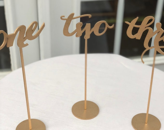 Set of 5 - Wedding Table Numbers - Table Numbers - Set of 1-5 - Gold Table Numbers - Laser Cut Table Numbers - Elegance Line