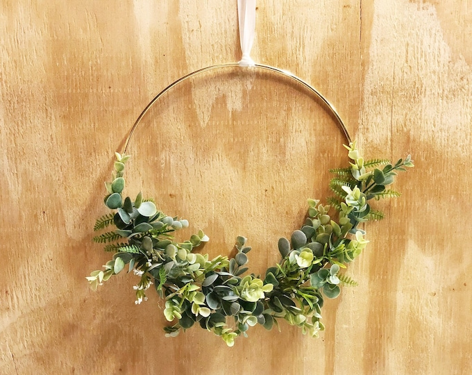 "10"" Modern Hoop Wreath With Greenery, Hoop Wreath, Fall Wreath, Christmas Wreath, Eucalyptus Wreath, Modern Style Wreath, Farmhouse Style"