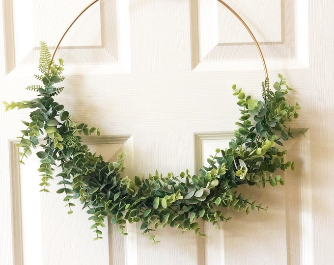 "14"" Modern Hoop Wreath With Faux Greenery, Hoop Wreath, Fall Wreath, Summer Wreath, Faux Eucalyptus Wreath, Modern Style Wreath, Farmhouse S"