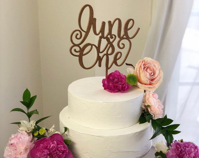 Baby's First Birthday Cake Topper - First Birthday Cake Topper - Custom Name + Is One