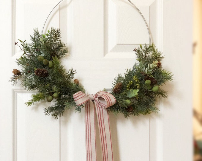 "14"" READY TO SHIP, Christmas Hoop Wreath, Christmas Wreath, Holiday Wreath, Faux Greenery Wreath, Modern Wreath, Farmhouse Style Wreath"