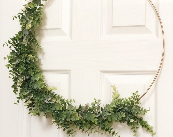 "19"" Modern Hoop Wreath With Greenery, Large Hoop Wreath, Fall Wreath, Summer Wreath, Faux Eucalyptus Wreath, Modern Style Wreath, Farmhouse"