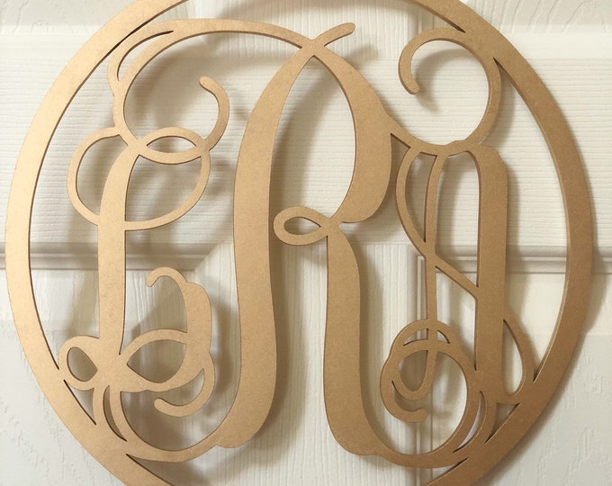 Laser Cut Round Monogram Sign - Laser Cut Monogram Sign - Initials Monogram Laser Cut - Three Letters Monogram Sign for Door - Monogram Sign