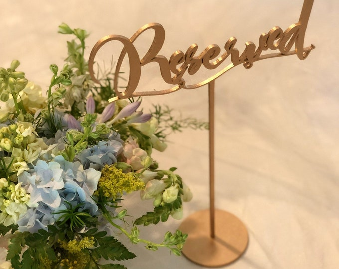 Reserved Table Signs - Stands Available - Set of 6 - Gold - Silver - DIY - Garden Line. Reserved.