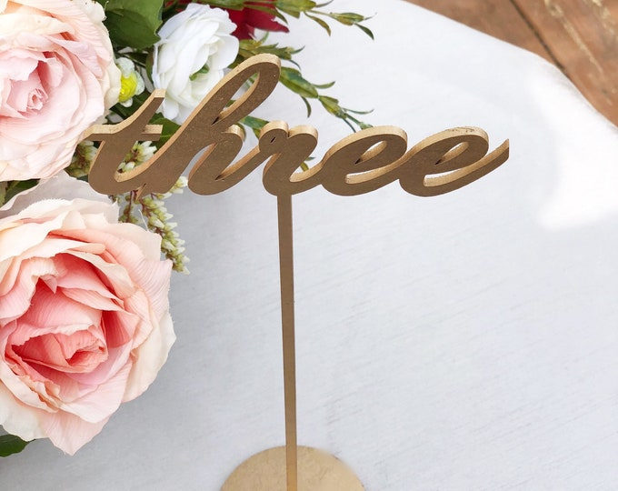 Set of 23 - Reception Table Numbers - Wedding Table Numbers - Laser Cut Table Numbers - Set of 1-23 - Floral Centerpiece Numbers- Vienna