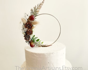 Hoop Dried Flowers Cake Topper - Floral Cake Topper - Wedding/Anniversary Cake Topper, Pine cones cake topper
