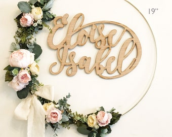 """19"""" Cream and Blush Peonies Wreath, Handmade Girl Nursery Wreath with Wood Name Sign, Floral Backdrop, Custom Name Sign Floral Wreath"""