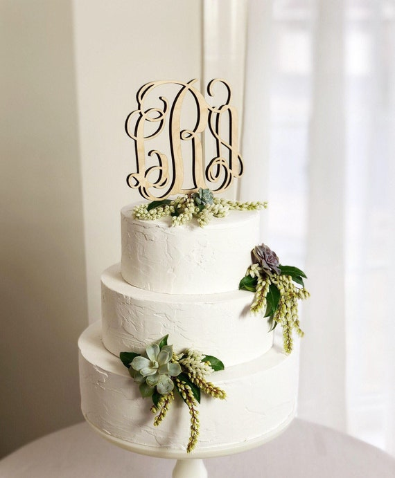 Wood Monogram Wedding Cake Toppers