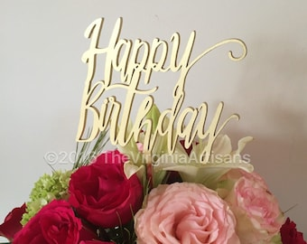 Happy Birthday Cake Topper. Gold or Silver - Laser Cut Cake Topper