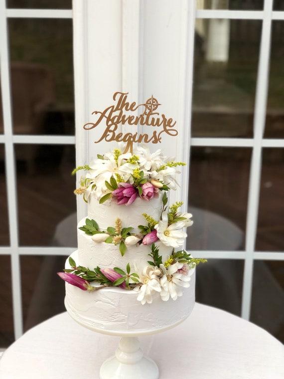 The Adventure Begins Wedding Cake Topper Travel Theme Etsy