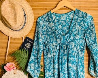 1cc82457 Women's Silk Baby Doll Dress, Green Teal Batik Silk Dress, Boho Beach Sun  Dress, Short Sleeve Loose Fitting Mini Dress, Womens Resort Wear