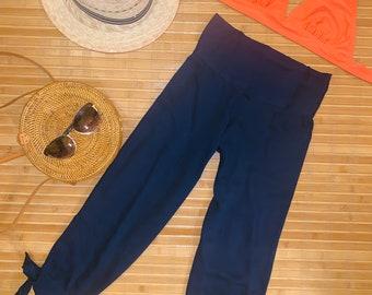 2320753d71 Womens Capri pants, Boho Beach Capri, Resort Wear Ladies, Comfy Casual Pants,  Cropped Summer Trousers, Loose Vacation Pants, Navy Solid