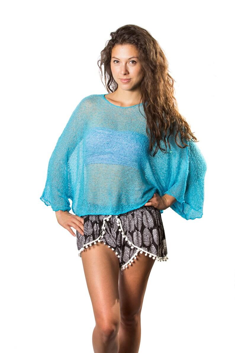 17a831818b Turquoise Blue 4 Prema Beach Cover Shirt & Tunic Dolman | Etsy