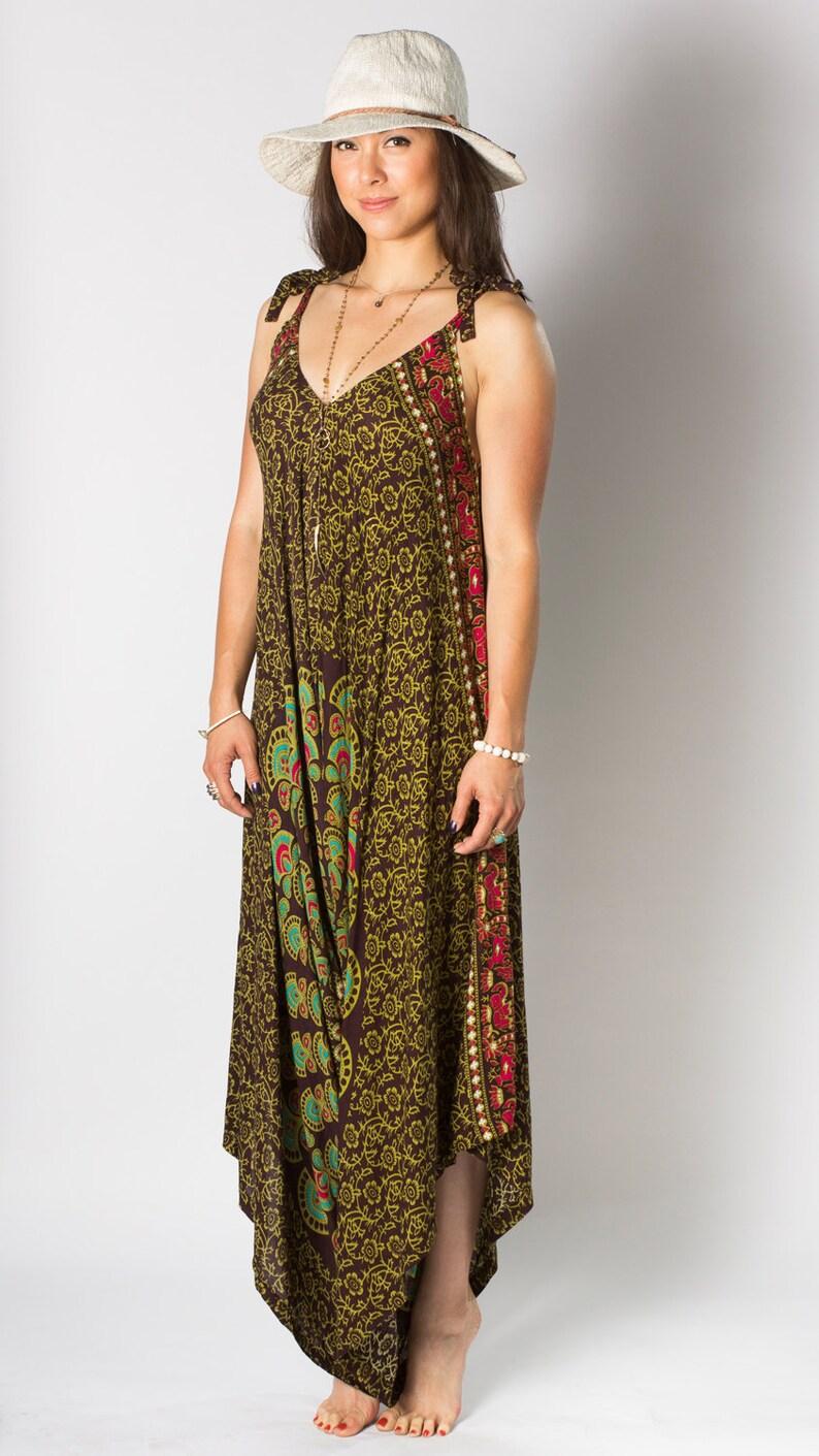 50468cbe46 Wide Leg Womens Gypsy Long Jumpsuit Dress in Brown Green